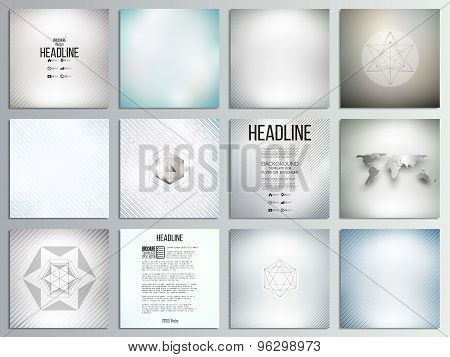 Set of 12 creative cards, square brochure template design, diagonal lines pattern, repeat straight s