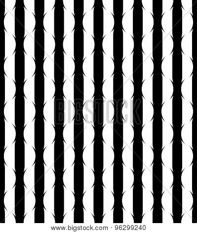 Black And White Geometric Seamless Pattern With Stripe, Abstract Background.