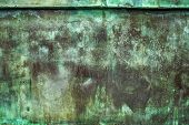 pic of oxidation  - Oxidized Green Copper Metal Plate Texture as Industrial Rustic Background - JPG
