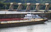 stock photo of dam  - Barge with Red - JPG