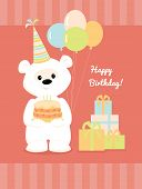 foto of birthday hat  - Vector illustration of a cute cartoon white teddy bear with birthday hat - JPG