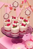 image of buffet  - candy buffet with souffle in glasses and paper labels for text - JPG