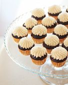 foto of buffet  - Delicious sweet buffet with cupcakes on the plate - JPG
