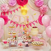 picture of buffet  - Delicious sweet holiday buffet with cupcakes - JPG