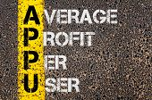 pic of average looking  - Concept image of Business Acronym APPU as Average Profit Per User written over road marking yellow paint line - JPG