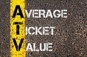 picture of average looking  - Concept image of Business Acronym ATV as Average Ticket Value written over road marking yellow paint line - JPG