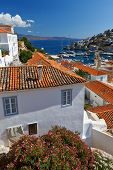 stock photo of hydra  - View of port of Hydra from the streets of the town - JPG