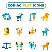 stock photo of pisces horoscope icon  - Zodiac constellation and astrology symbols icon flat set isolated vector illustration - JPG