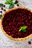 picture of shortbread  - Homemade cherry pie shortbread dough and cherry jelly on top - JPG