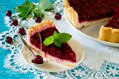 foto of shortbread  - Homemade cherry pie shortbread dough and cherry jelly on top - JPG
