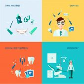 image of oral  - Dental treatment care and oral hygiene flat color  decorative icon set isolated vector illustration - JPG