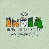 image of indian independence day  - Elegant greeting card design with floral design decorated national tricolor text India for Indian Independence Day celebration - JPG