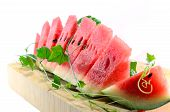 image of watermelon slices  - Cut slices of watermelon on white background - JPG