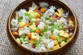 picture of raw materials  - Vietnamese food fried rice a delicious Asian eating raw material as carrot cooked rice meat egg sausage onion garlic this meal rich cholesterol calories - JPG