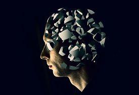 stock photo of cyborg  - Cyborg profile portrait with brain explosion fragments on black background - JPG