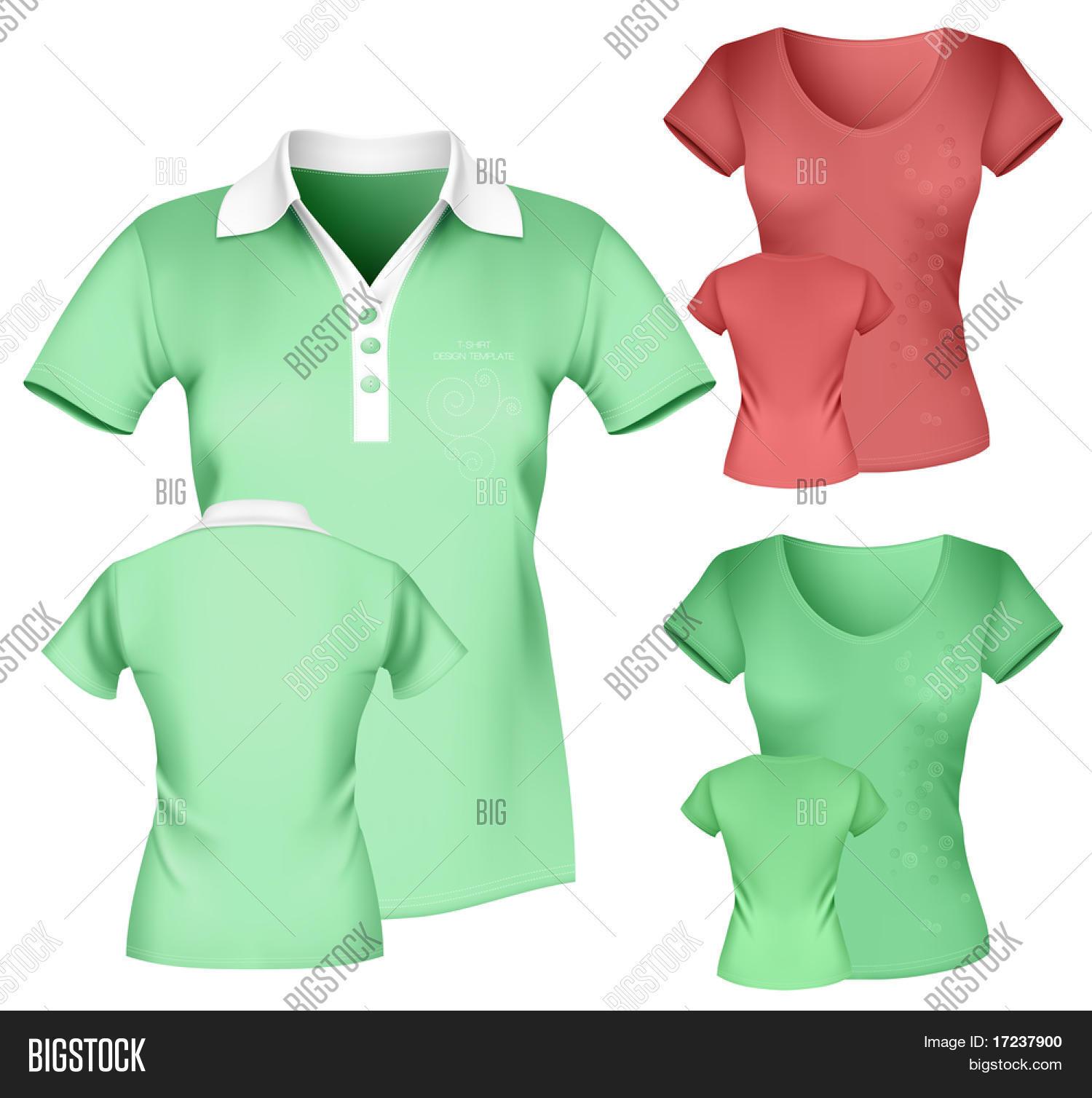Polo shirt design vector - Photo Realistic Vector Illustration Women S Polo Shirt And T Shirt Design Template