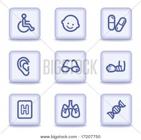 Medicine web icons set 2, light violet glossy buttons