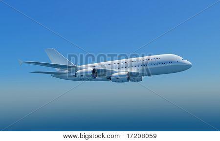 3D rendering of a jet flying in blue sky, isolated, included