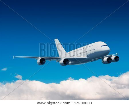 Airbus A380 flying in blue sky, 3D rendering