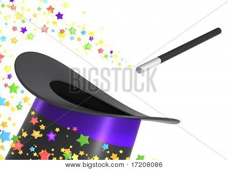 Magic hat and wand with a twirl of multicolor stars, isolated on white background, with pat