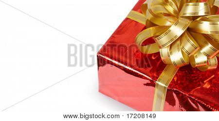 Gift box with bow isolated on white with copy space