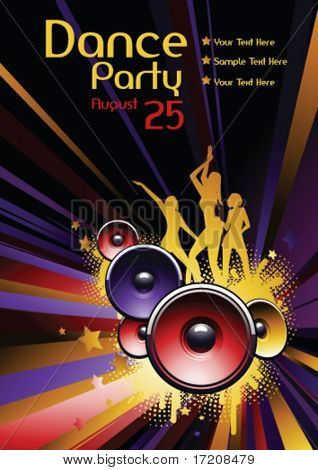 Vector dance party flyer with copy space