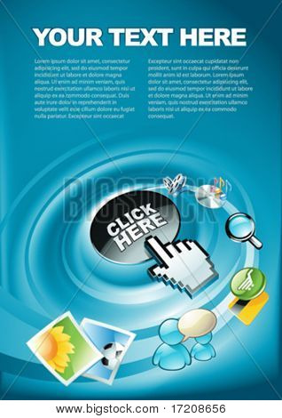 Computer, internet, entertainment concept. Colorful background with copy space, vector illustration