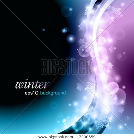 Winter background with lights and snowflakes, eps10 vector illustration