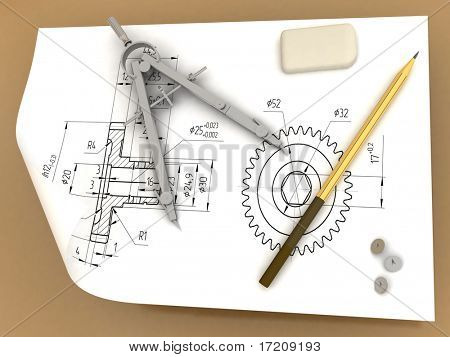 Pencil, compasses and elastic band on the drawing