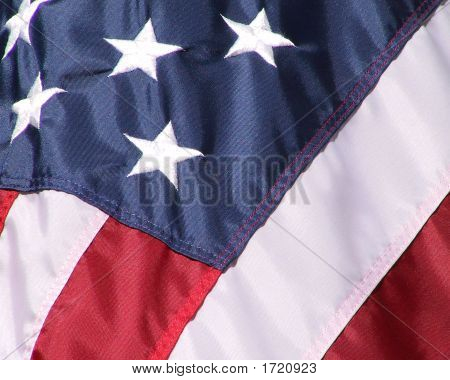 Closeup Of Us Flag With Five Stars Showing