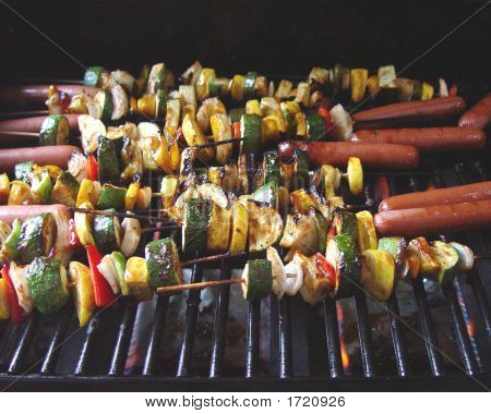 Hot Dogs And Veggie Skewers