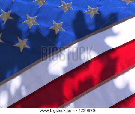 Us Flag Backlit With Sunlight