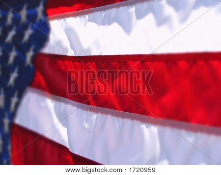 Us Flag Angled With Enhanced Depth Of Field