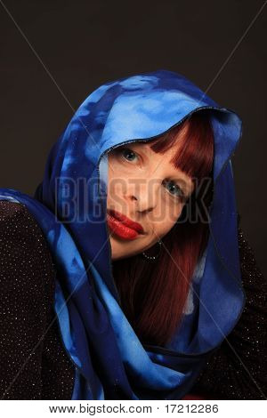 Woman With Scarf Headwear