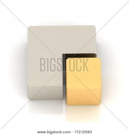 Cubic three-dimensional pie