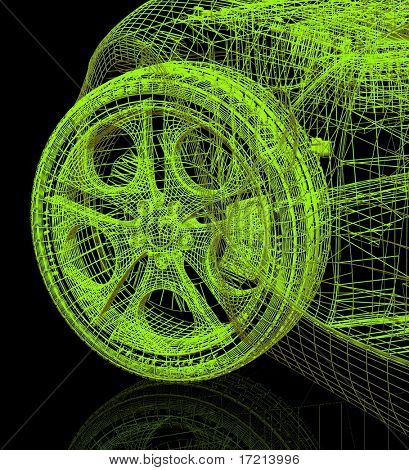 Closeup of wheels of machine on black background