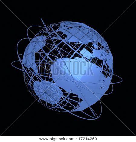Globe art on the black background
