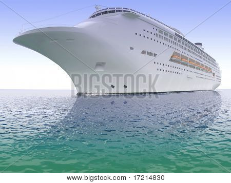 Luxurious white ship sailing on the sea from time immemorial a clear day