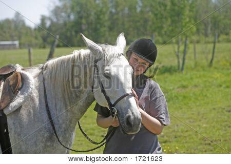 Melanie And White Horse