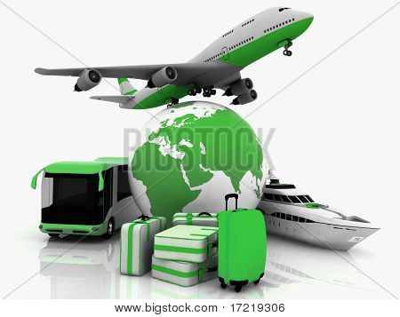 types of transport tourist liners with earth and suitcases