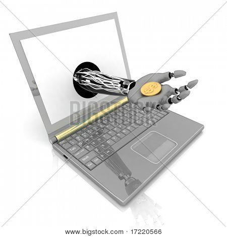 3d robotic hand hold a coin. Concept of payment