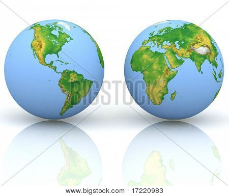 Two globes on a white background