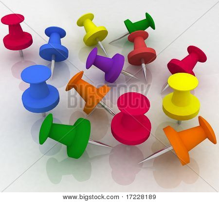 colorful push pin collection