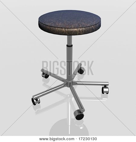 3d render of rotating chair on casters without a back