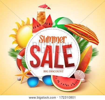 poster of Summer sale vector banner design for promotion with colorful beach elements behind white circle in yellow background. Vector illustration.