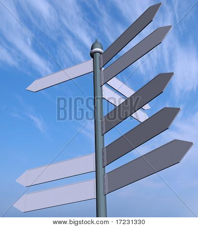 3D render road sign