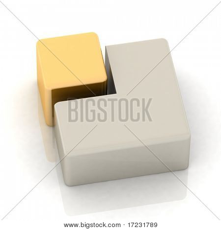 Cubic three-dimensional pie