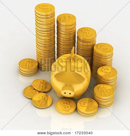 gold chinks with piggy bank