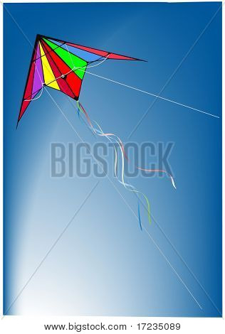 kite flying on clear blue sky background