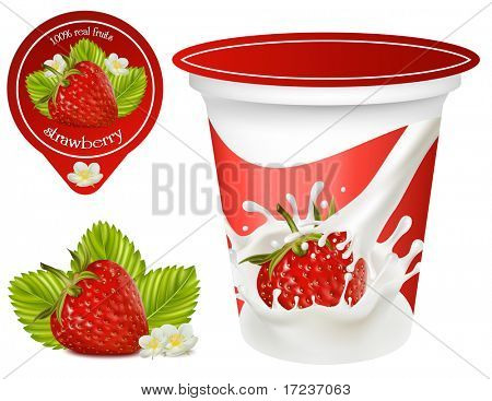 Vector illustration. Background for design of packing yoghurt with photo-realistic vector of strawberry. Red ripe  strawberry with leaves and flowers.